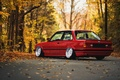 Picture E30, BMW, road, autumn, forest, leaves