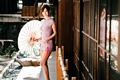 Picture Oriental girl, chingcho Chang, umbrella, dress