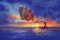 Picture sea, running, girl, emotions, art, balloons, sunset