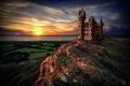 Picture sea, castle, sunset