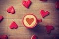 Picture mug, widescreen, heart, cappuccino, HD wallpapers, Wallpaper, full screen, love, background, heart, widescreen, mood, Cup, ...