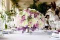 Picture lilac, lilac, Freesia, roses, freesia, Roses, chrysanthemum, bouquet, restaurant, table, Bouquets