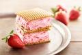 Picture strawberry, berry, ice cream, dessert, sweet, wafer, strawberry, dessert, Ice cream, Sweets
