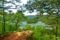 Picture forest, summer, the sky, trees, mountains, lake, USA, Arkansas