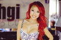 Picture red, smile, girl, Keith Cheng, chest