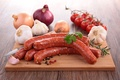 Picture Tomatoes, Sausage, Onion, Garlic, Meat products