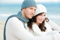 Picture gently, smile, love, lovers, beach, male, girl, scarf, eyes, hugs