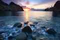 Picture sea, landscape, sunset, stones, rocks, the evening, Wallpaper from lolita777