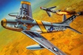 Picture war, art, painting, aviation, korea, dogfight, jets, F-86 Sabre, Mig-15