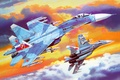 Picture eng., art, dude, the plane, highly maneuverable, flank, setting, Soviet, Flanker, BBC, OKB, Russian, multipurpose, ...