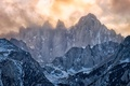 Picture tops, clouds, snow, mountains, winter