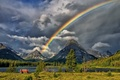 Picture rainbow, shop, mountains, the sky, river, forest