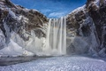 Picture winter, the sky, snow, mountains, waterfall, rainbow, Iceland