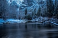 Picture winter, snow, trees, river, rocks, CA, USA, Yosemite, driftwood, Yosemite National Park