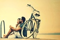 Picture girl, bike, background, stay, widescreen, Wallpaper, mood, woman, relax, pair, wallpaper, male, guy, bicycle, a ...