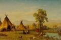 Picture landscape, picture, wigwam, Albert Bierstadt, The village of the Sioux near Fort Laramie