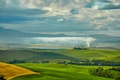 Picture meadows, field, houses, Italy, trees, Tuscany, smoke, greens, plain, the sky, clouds, space