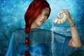 Picture look, shell, background, decoration, red hair, face, rendering, lights, pigtail, water, girl