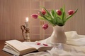 Picture candle, mood, bouquet, romance, tulips, book