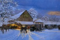 Picture County Auction, auction, Dave Barnhouse, snow, winter, painting, horses, carts, the evening, The Gathering Place