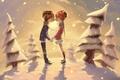 Picture winter, snow, trees, romance, kiss, pair