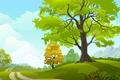 Picture vector graphics, road, birds, trees, sky, grass field, clouds, clouds, nature, trees, grass field, vector ...