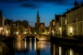 Picture night, lights, Bruges, Saint Anna, West-Flanders