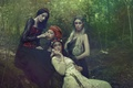 Picture fantasy, art, Agnieszka Lorek, four girls, Forest dream