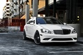 Picture auto, the city, Wallpaper, 360 forged, white Mercedes, black rims, mersedes s-class