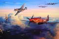 Picture aviation, ww2, painting, airplanes, dogfight, art, b-17, p-51d, aircraft, bombing, drawing, war