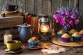 Picture kettle, flowers, books, bell, bouquet, cupcakes, coffee, letters, glasses, lantern