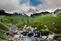 Picture the sky, mountains, trees, water, stream, clouds, landscape, grass, river, stones