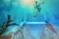 Picture Lara Croft, crocodiles, Tomb Raider, art, water, Lara Croft, the rays of the Sun, braid, ...
