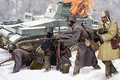 Picture soldiers, burning tank, Soviet infantry, 1941, winter