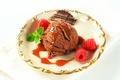 Picture raspberry, chocolate, ball, ice cream, mint, sweet, Chocolate, dessert, raspberry, Ice cream, Sweets