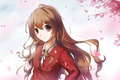 Picture look, girl, smile, petals, school uniform, anime, art, aisaka taiga, lancefate, toradora!
