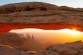 Picture the sun, desert, Mountain, AZ, stone bridge
