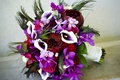 Picture flowers, bouquet, rhinestones, roses, flower, Calla lilies, peony, orchids, Orchid