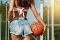 Picture basketball, cutie, girl, jeans, shorts