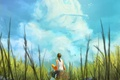 Picture summer, the sky, grass, girl, clouds, art, sitting