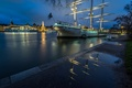 Picture night, lights, river, home, sailboat, ships, Stockholm, Sweden, promenade