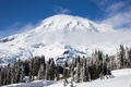 Picture mountain, house, Mount Rainier, winter, the sky, National Park, forest