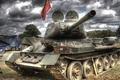 Picture clouds, T-34-85, shell, Soviet, banner, average, tents, radio, trunk, tank, Victory Day, the sky