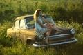Picture retro, background, nature, Dasha, Volga, car, Wallpaper, girl, mood, GAZ 21, Volga, USSR