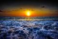 Picture sea, orange sky, wave, sunrise, horizon, beach
