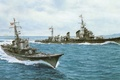 Picture ship, art, Navy, military, Japanese, destroyer, anti-submarine, WW2, destroyer, IJN, Shimakaze, submarine chaser, No.46