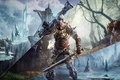 Picture ice, forest, snow, weapons, tree, robot, sword, hero, gun, armor, times, Troll, Piranha Bytes, ELEX, ...