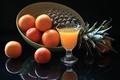 Picture glass, orange, juice, pineapple, still life