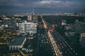 Picture cars, Germany, Avenue, city center, twilight, rainy, TV tower, Berlin, transport