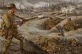 Picture war, figure, easy, art, soldiers, machine gun, shots, Browning, Automatic, the trenches, Rifle 1